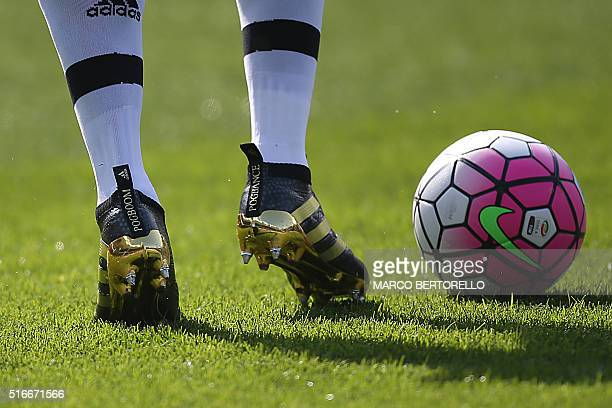 A picture shows the new football shoes of Juventus' midfielder Paul Pogba before the Italian Serie A football match Torino Vs Juventus on March 20...