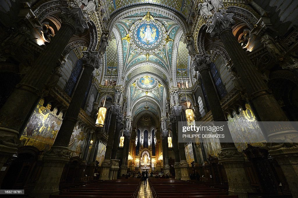 A picture shows the new lighting of the Fourviere Basilica after seven years of restoration on March 5, 2013 in Lyon.