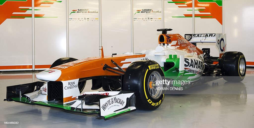 A picture shows the newly unveiled Sahara Force India VJM06 Formula 1 racing car during the launch at Silverstone race circuit near Northampton on Febuary 1, 2013. Force India have yet to announce their second driver to join British driver Paul Di Resta.