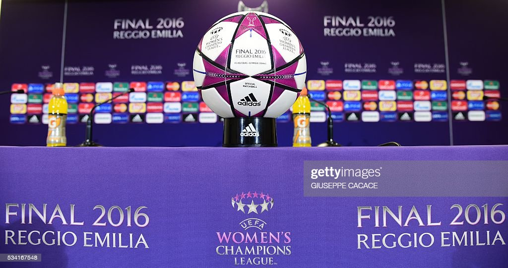 A picture shows the official ball during a press conference on the eve of the UEFA Women's Champions League football Final between Wolsburg and Lyon on May 25, 2016 at the Stadio Citta del Tricolore in Reggio Emilia. / AFP / GIUSEPPE