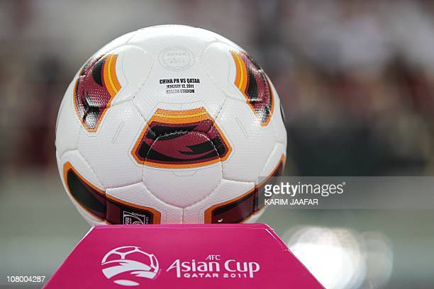 A picture shows the official ball of the 2011 Asian Cup group A football match between China and Qatar before kickoff at Khalifa Stadium in the...