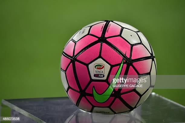 A picture shows the official ball of the 'Serie A Tim' before the Italian Serie A football match Inter Milan vs Atalanta at the San Siro Stadium in...