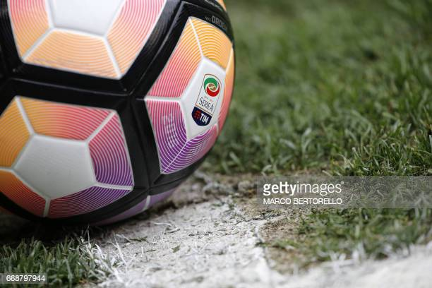 A picture shows the official logo of Italian Serie A Tim on a ball during the Italian Serie A football match Genoa Vs Lazio on April 15 2017 at the...