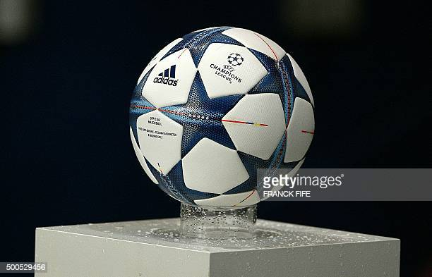 A picture shows the official match ball of the UEFA Champions League group A football match between ParisSaintGermain and Shakhtar Donetsk at the...