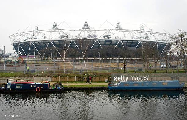 A picture shows the Olympic Stadium following a press conference in east London to announce the new deal between Newham council and West Ham United...