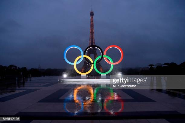 A picture shows the Olympics Rings on the Trocadero Esplanade near the Eiffel Tower in Paris on September 13 after the International Olympic...