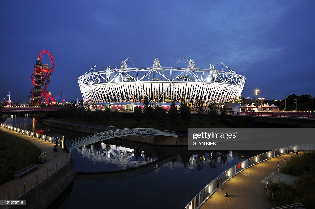 A picture shows the Orbit (L) and the Olympic Stadium (R) during the London 2012 Paralympic Games at the Olympic Park in east London on August 31, 2012.