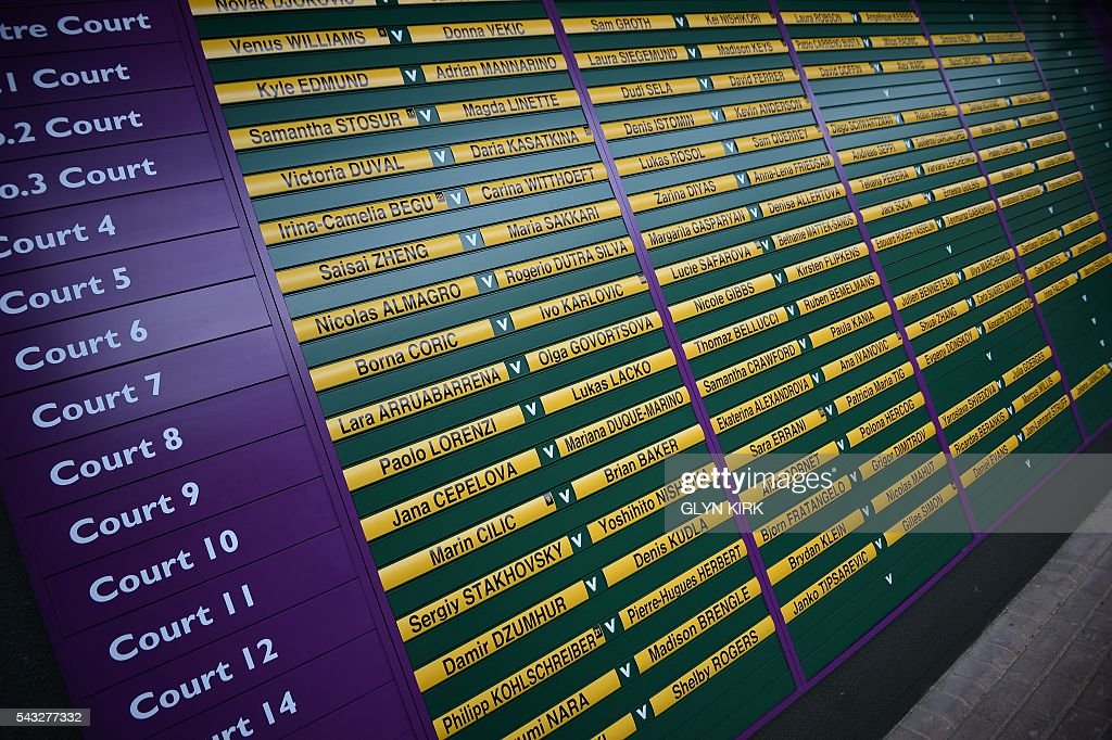 A picture shows the order of play at The All England Lawn Tennis Club in Wimbledon, southwest London, on June 27, 2016 on the first day of the 2016 Wimbledon Championships. / AFP / GLYN