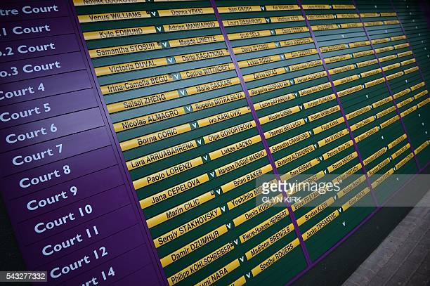A picture shows the order of play at The All England Lawn Tennis Club in Wimbledon southwest London on June 27 2016 on the first day of the 2016...