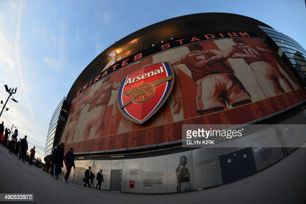 A picture shows the outside of The Emirates Stadium in north London on September 29 2015 ahead of kick off of the UEFA Champions League Group F...