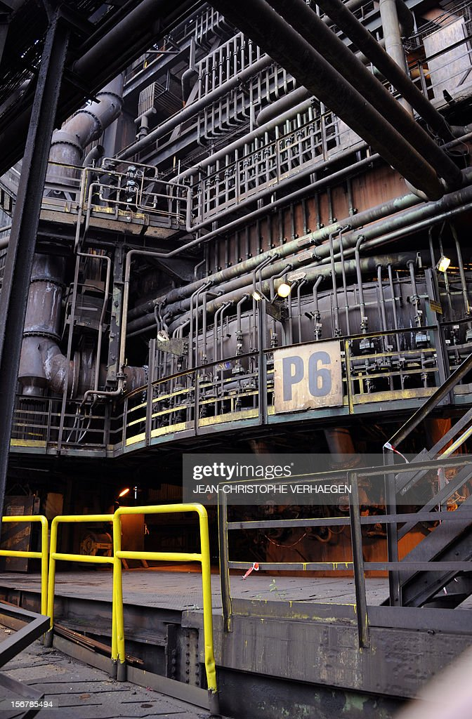 A picture shows the P6 blast furnace of steel giant at ArcelorMittal's Florange site in Hayange, eastern France, on November 20, 2012. ArcelorMittal's management said on November 19, 2012 that the 'situation is even more sluggish in 2013 than in 2012' for some of its activities during an Extraordinary Central Works Council which concluded without providing informations about potential buyers.