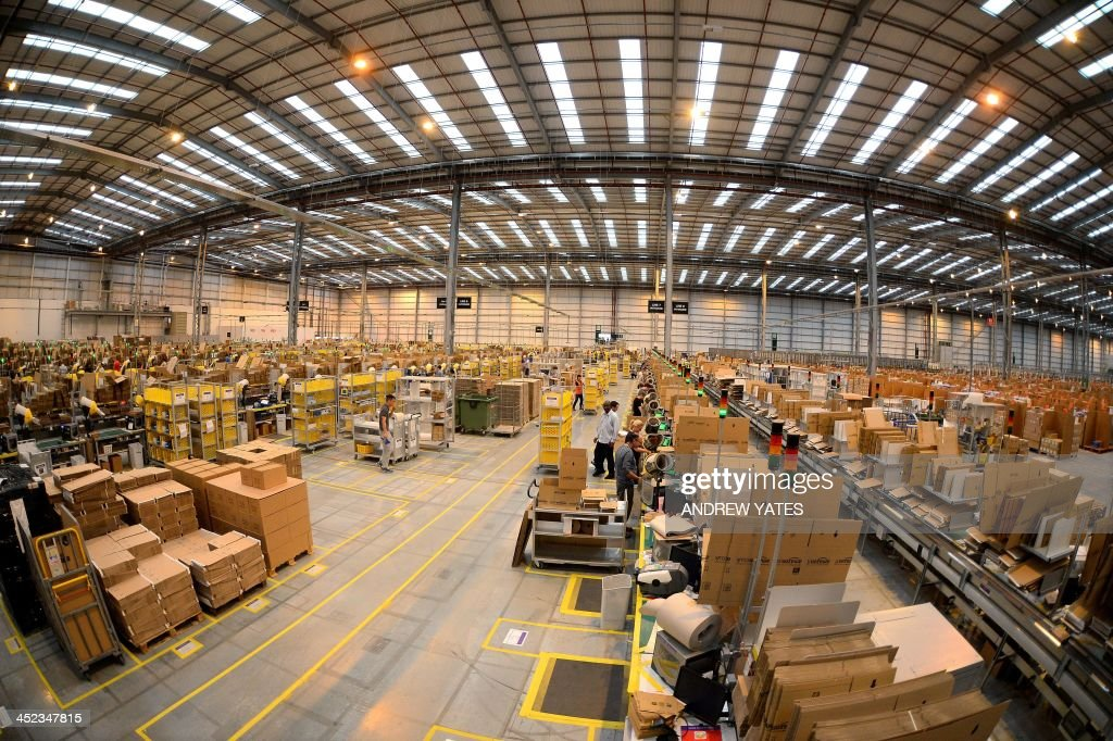A picture shows the packaging department at the Fulfilment Centre for online retail giant Amazon in Peterborough, central England, on November 28, 2013, ahead of Cyper Monday on December 2nd, expected to be one of the busiest online shopping days of the year.