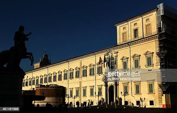 A picture shows the Palazzo del Quirinale the Italian presidential palace on January 13 2015 at sunset in Rome Italian President Giorgio Napolitano...