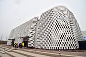 A picture shows the pavillion of Banca Intesa at the construction site of the Universal Exhibition 2015 in Milan on March 25 2015 The exhibition will...