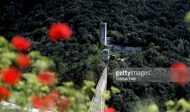 VELASQUEZ A picture shows the 'Ponte delle Torri' in the medieval city of Spoleto on April 21 2017 in Umbria The city has inaugurated recently the...
