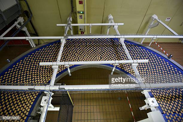 A picture shows the production line of the 'petit beurre' biscuit in the factory of French biscuit manufacturer LU in La HayeFouassiere near Nantes...