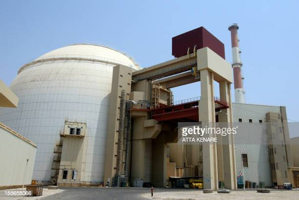 A picture shows the reactor building at the Russianbuilt Bushehr nuclear power plant in southern Iran on August 21 2010 during a ceremony initiating...