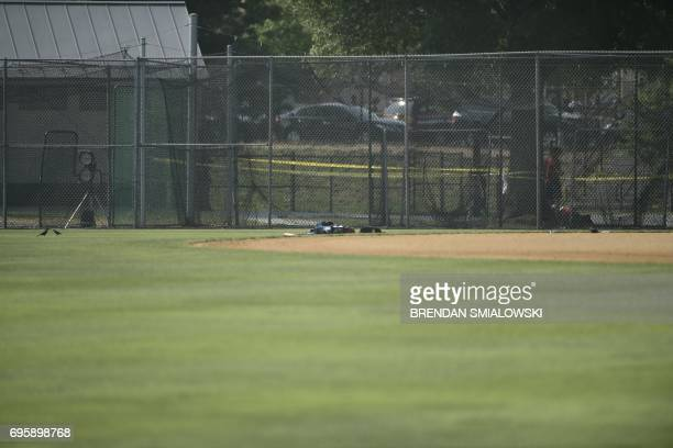 Picture shows the scene of an early morning shooting in Alexandria Virginia June 14 2017 Senior Republican Congressman Steve Scalise was among...