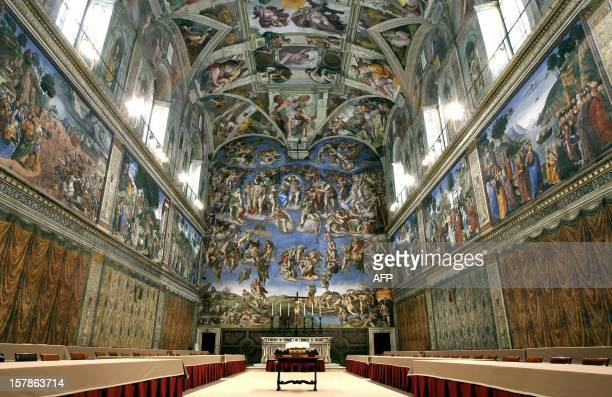 Picture shows the Sistine Chapel with Michelangelo's fresco ' The Last Judgment ' at the Vatican 16 April 2005 Cardinals start their conclave in the...