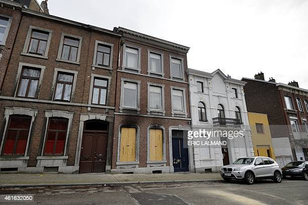 A picture shows the site where two suspected jihadists were killed in an antiterrorist operation in Verviers eastern Belgium on January 16 2015...