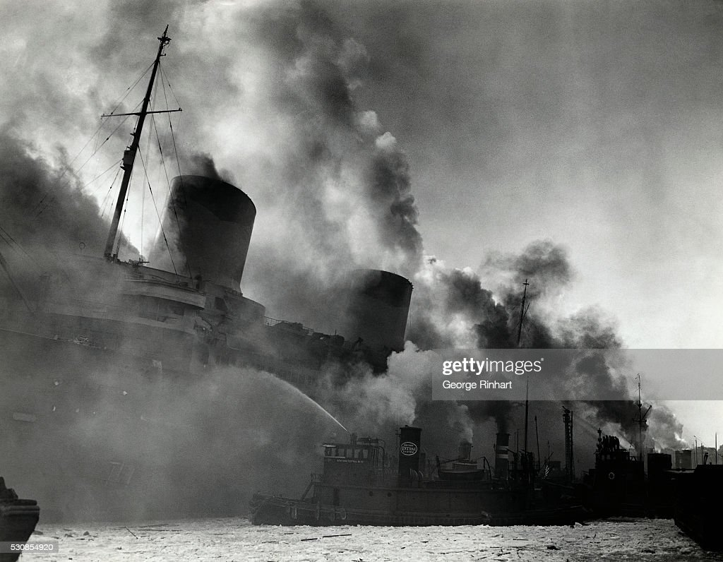 Image result for burning of uss normandie