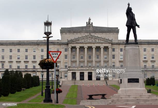 A picture shows the Stormont Parliament Buildings the seat of the Northern Ireland Assembly in Belfast Northern Ireland on September 10 2015 Northern...