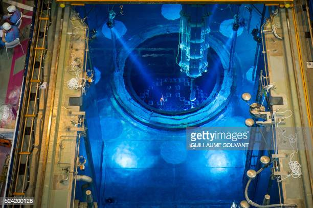 A picture shows the switched off Unit 1 nuclear reactor core containing the combustible uranium at the bottom of the pool in the nuclear power plant...