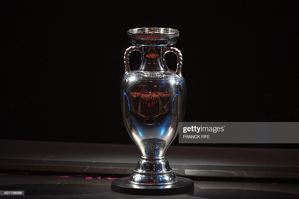 A picture shows the trophy of the UEFA Euro 2016 football tournament during the final draw in Paris on December 12 2015 AFP PHOTO / FRANCK FIFE / AFP...