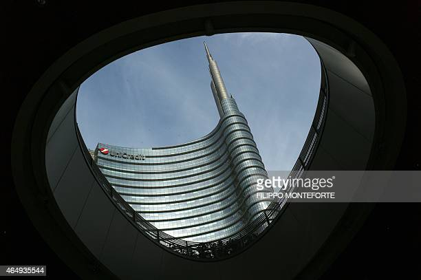 A picture shows the Unicredit tower in the business district of Porta Nuova on February 27 2015 in Milan Qatar's sovereign fund has acquired full...