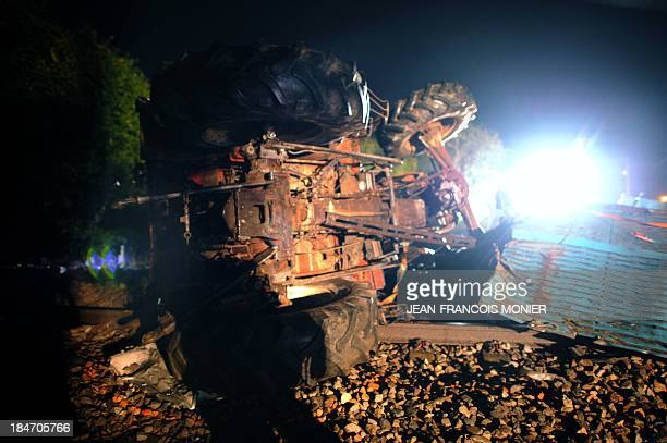 A picture shows the wheels of the truck carrying tractor farmer which collided with a French highspeed TGV train late on October 15 2013 in SaintRemy...
