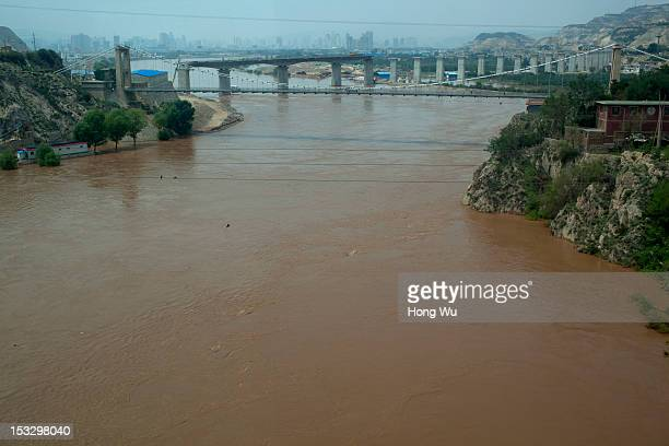 Picture shows the Yellow River scenes taken in a train carriage of from Beijing to Lhasa on August 14 2012 in Lanzhou China After QinghaiTibet...