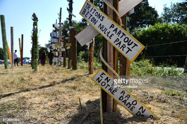 picture shows totems bearing various slogans during a twoday meeting organised by opponents to a controversial international airport project in the...