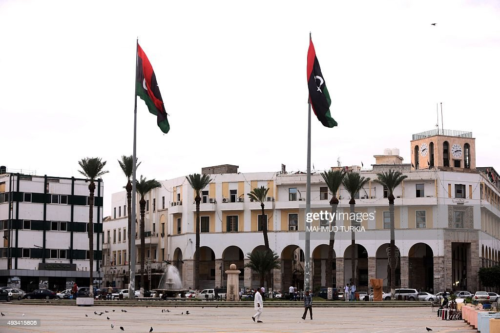 A picture shows Tripoli's Martyrs square which used to be called the Green Square during the dictatorship of slain Libyan dictator Moamer Kadhafi in...