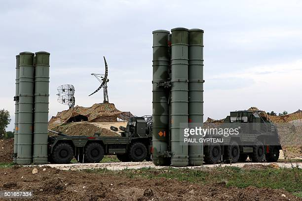 A picture shows two Russian S400 Triumf S400 Triumf missile system at the Russian Hmeimim military base in Latakia province in the northwest of Syria...
