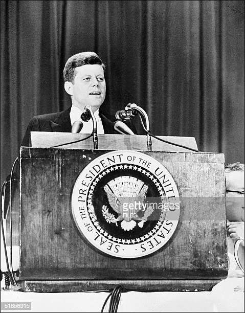 Picture shows United States president John Fitzgerald Kennedy during a speech as he is invited by the American newspapers chairman association at the...