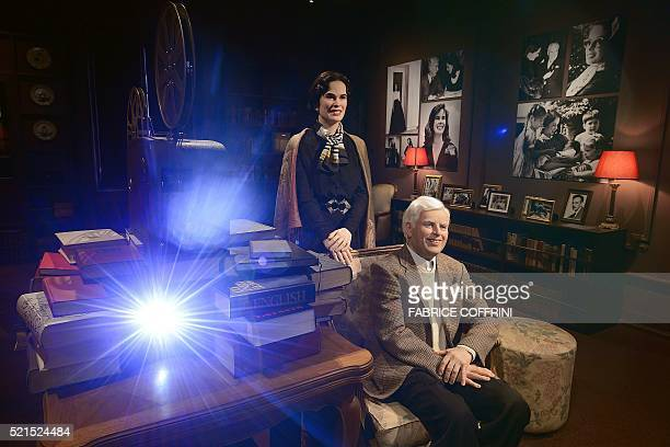 A picture shows wax statues of Charile Chaplin and Oona O'Neill in a replica of his last home during a press visit of Chaplin's World Museum in...