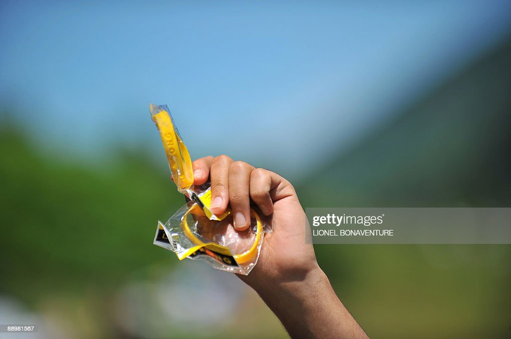 Picture shows wristband from Armstrong association Livestrong which fights cancer on July 11 2009 during the 176 km and eighth stage of the 2009 Tour...