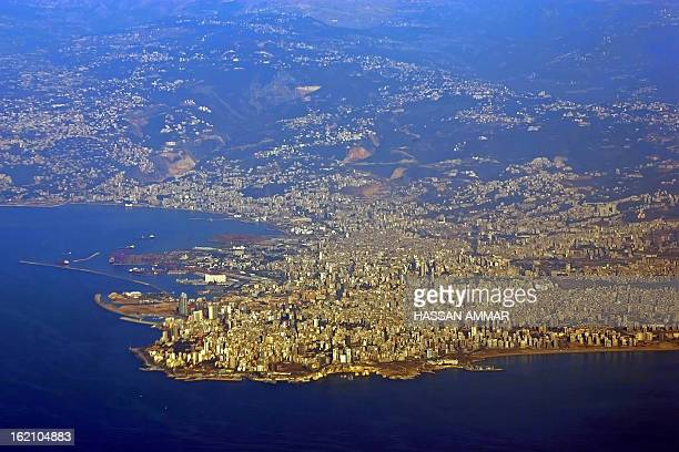 A picture taken 02 February 2007 from an airplane shows a general view of the Lebanese capital Beirut AFP PHOTO/HASSAN AMMAR