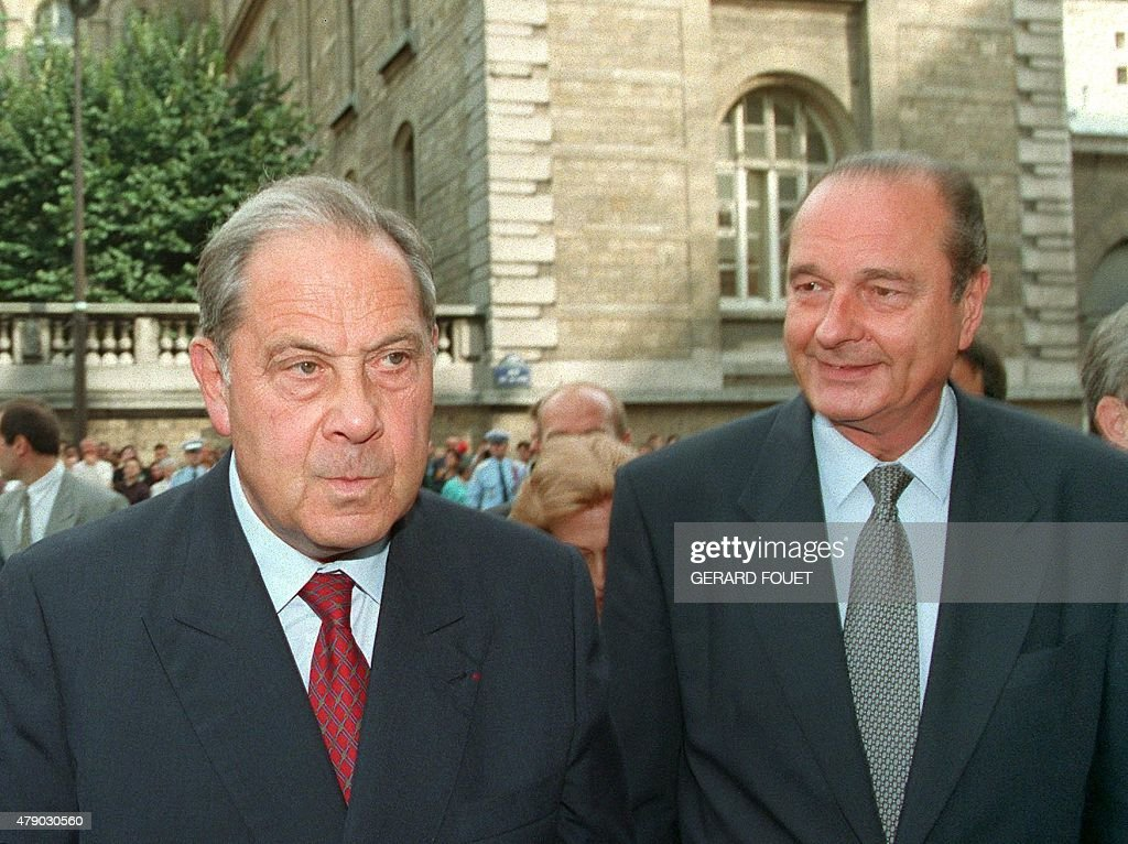 Picture taken 02 September 1994 showing French President Jacques Chirac (R) and former interior minister <a gi-track='captionPersonalityLinkClicked' href=/galleries/search?phrase=Charles+Pasqua&family=editorial&specificpeople=701273 ng-click='$event.stopPropagation()'>Charles Pasqua</a>, who announced 04 December his resignation as political advisor of the Rally for the Republic because of disagreement over the Gaullist party's stand on the Amsterdam Treaty. In an interview in 05 December edition of Le Monde newspaper, Pasqua said: 'I can no longer remain as political advisor for the RPR and disapprove at the same time of its decisions on a fundamental issue'.