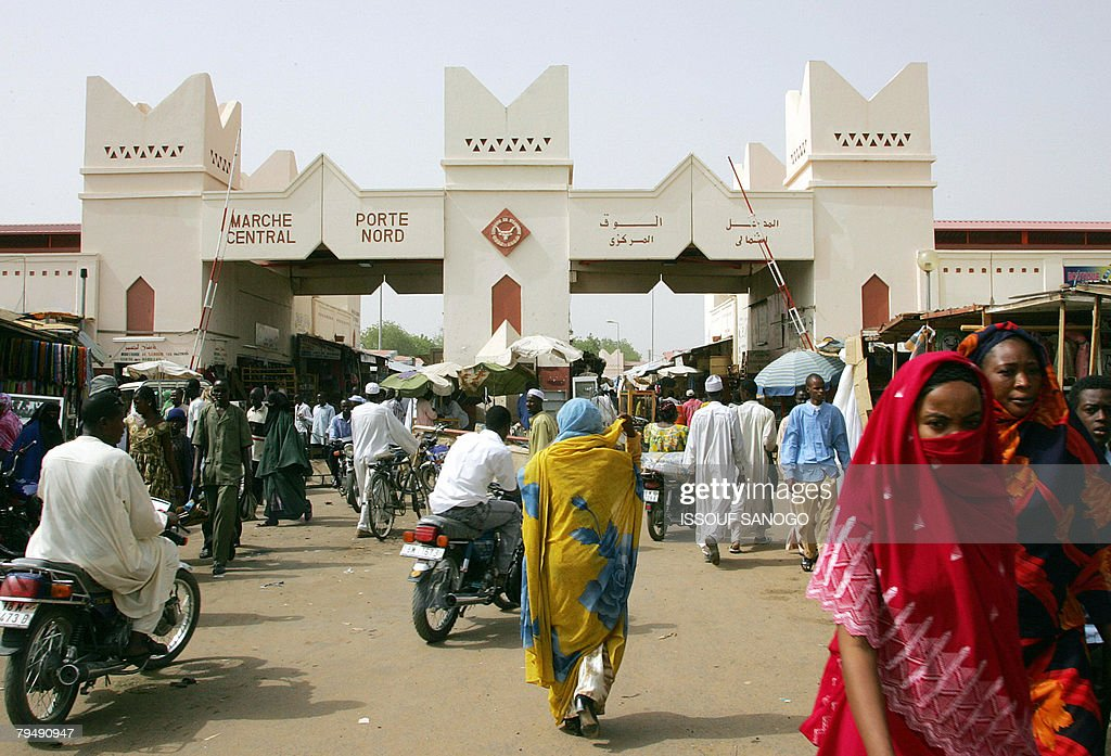 A picture taken 04 May 2006 of the central market in the center of N'djamena The main market in Ndjamena and the national radio station were...