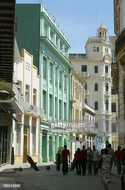 Picture taken 06 May 2004 downtown Havana of the facades built in Cuba's brief 'Belle Epoque' of colonial affluence AFP PHOTO GABRIEL BOUYS / AFP...