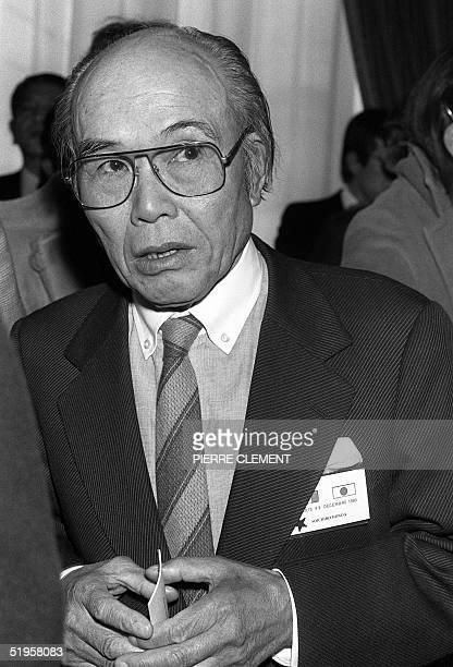 Picture taken 08 December 1980 in Paris of CEO of Honda Japanese Soichiro Honda