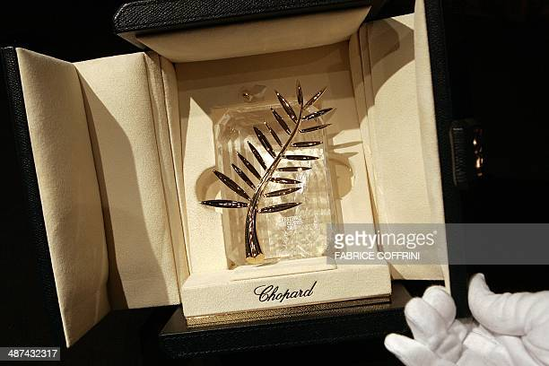 A picture taken 09 May 2007 shows the 2007 Palme d'Or trophy designed by Swiss Jeweller Chopard for the 60th edition of the Cannes International Film...