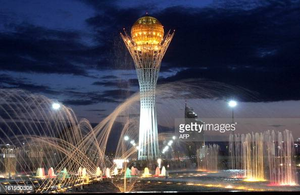 picture taken 12 June 2005 shows the 97 metres steel tower in the center of Astana The sciencefiction like tower is the symbol of Kazakhstan's new...