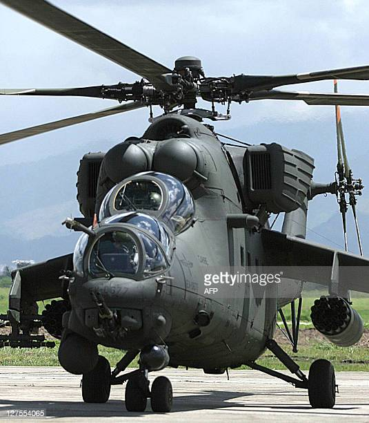 Picture taken 13 July 2006 of a Russianbuilt Mi35M night attack/assault helicopter of the Venezuelan Army on the tarmac during a military exercise in...