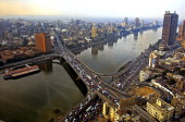 Picture taken 15 January 2002 shows a general view of the Nile river in Cairo AFP PHOTO/Marwan NAAMANI