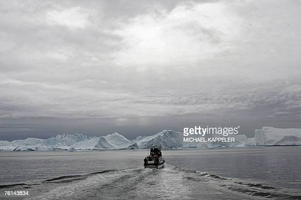 Picture taken 16 August 2007 shows the view of a fjord near Ilulissat Greenland German Chancellor Angela Merkel and German Environment Minister...