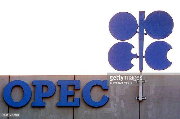 Picture taken 16 January 2001 in Vienna of the OPEC logo on the building of the Organization of petroleum Exporting Countries