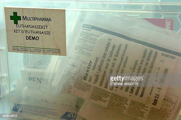 A picture taken 18 April 2005 in Brussels shows an 'euthanasia kit' available in the 250 Belgian Multipharma's chemist shops for the general...