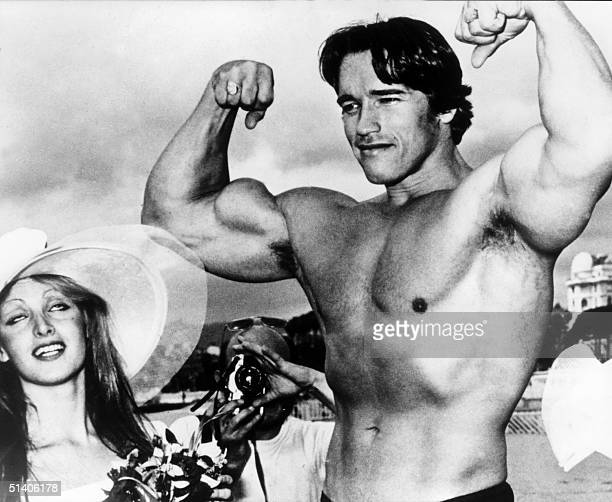 Picture taken 19th May 1977 of American actor Arnold Schwarzenegger during the 38th Cannes film festival The actor presented Pumping Iron a...